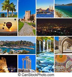 collage, beelden, turkije