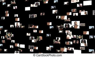 collage, beeldmateriaal, zakenlui