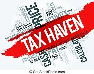collage, belasting, woord, haven, wolk