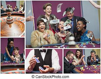 collage, bilder, kasino