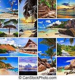 collage, bilder, sandstrand, sommer