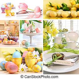 collage, billederne, påske, farverig