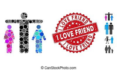 Mosaic bisexual person icon and rubber stamp seal with I Love Friend text. Mosaic vector is created from bisexual person icon and with randomized round elements.