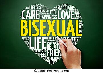 collage, bisexuel, mot, nuage