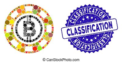 Collage Bitcoin Casino Chip Icon with Textured Classification Seal