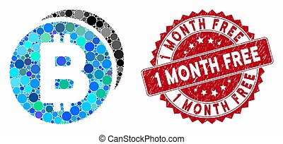 Collage Bitcoin Coins with Distress 1 Month Free Stamp