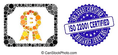 Collage Bitcoin Diploma Icon with Distress ISO 22001 Certified Seal