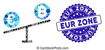 Collage Bitcoin Euro Market Swings Icon with Grunge EUR Zone Stamp