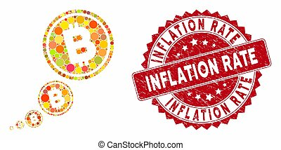 Collage Bitcoin Inflation with Distress Inflation Rate Stamp