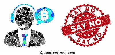 Collage Bitcoin Manager Message with Textured Say No Stamp