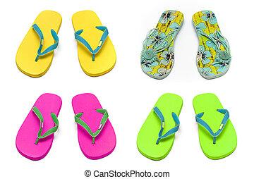 collage, blanco, sandalias, pantuflas, plano de fondo
