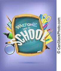 collage, bleu, école, concept, dos, arrière-plan., clair, tableau, sous, fournitures, dehors