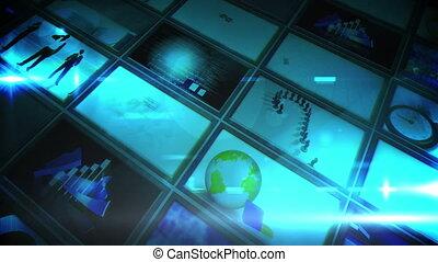 collage, bleu, écrans