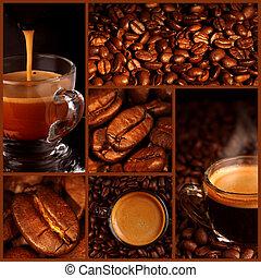 collage, bohnenkaffee, expresso