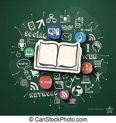 collage, bord, sociaal, netwerk, iconen