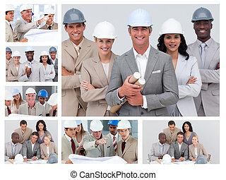 collage, bouwsector, vriendelijk, mensen