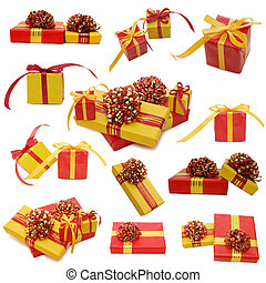 Collage, boxes with gifts isolated on white