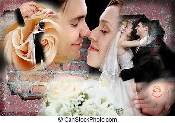 collage, bröllop