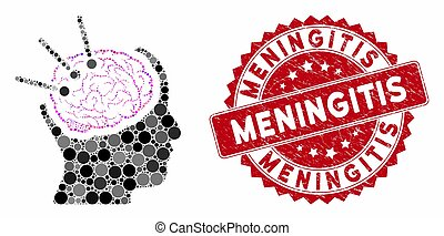 Collage Brain Autopsy with Scratched Meningitis Stamp