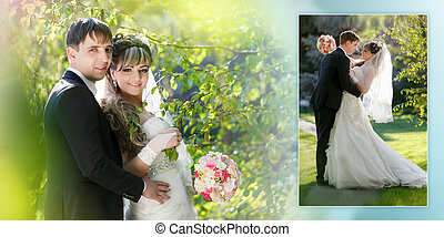 Collage - Bride and groom in the park