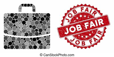 Collage Briefcase with Scratched Job Fair Stamp
