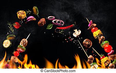 collage, brochetas, vegetales, carne, asado parrilla