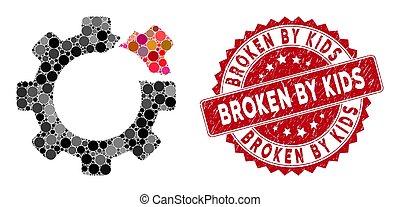 Collage Broken Gear with Grunge Broken by Kids Stamp