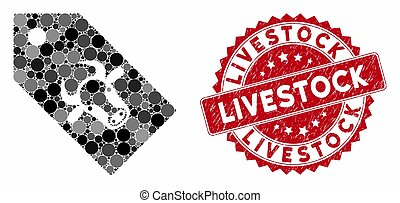 Collage Bull Tag with Textured Livestock Stamp