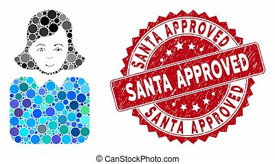 Collage Bureaucrat Woman with Distress Santa Approved Stamp