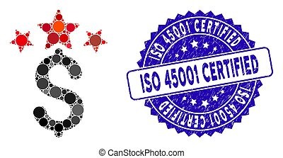 Collage Business Stars Icon with Scratched ISO 45001 Certified Stamp