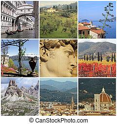 collage, célèbre, italie, mondiale, attractions