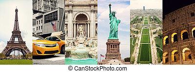collage, célèbre, voyage, endroits