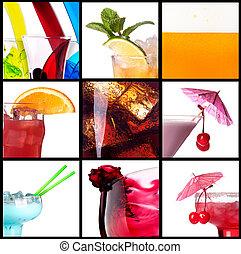 collage, cócteles,  Alcohol