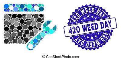 Collage calendar tuning icon and grunge stamp seal with 420 Weed Day phrase. Mosaic vector is formed from calendar tuning icon and with random round spots. 420 Weed Day stamp seal uses blue color,