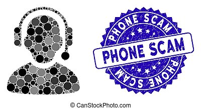 Collage Call Center Icon with Distress Phone Scam Seal