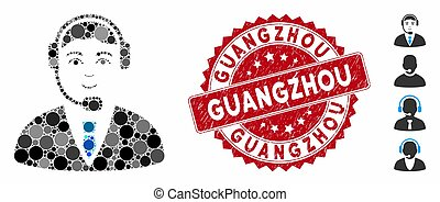 Collage Call Center Operator Icon with Textured Guangzhou Stamp