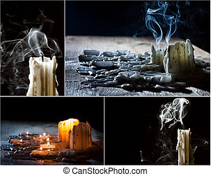 collage, candele, festa, morto