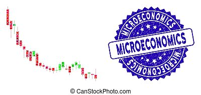 Collage Candlestick Chart Falling Slowdown Icon with ...