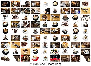 collage, cappuccino, café, breackfast, italien