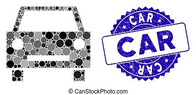Collage Car Icon with Textured Car Seal