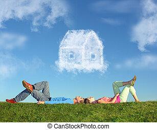 collage, casa, coppia, erba, sogno, dire bugie