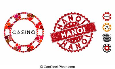 Collage Casino Chip Icon with Distress Hanoi Seal