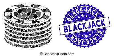 Collage Casino Chip Stack Icon with Textured Blackjack Seal