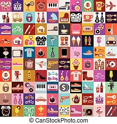 collage, casuale, oggetti
