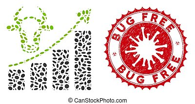 Collage Cattle Chart Grow Up Icon with Coronavirus Grunge Bug Free Seal