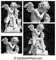 collage-, cementerio, llanto, ángel