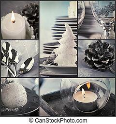 collage, cena, navidad