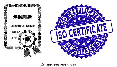 Collage Certificate Icon with Scratched ISO Certificate Seal