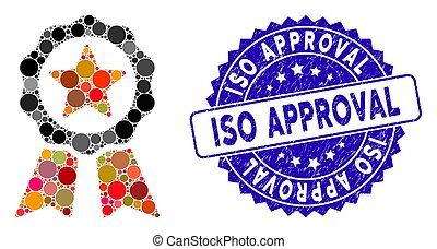 Collage Certification Seal Icon with Distress ISO Approval Stamp