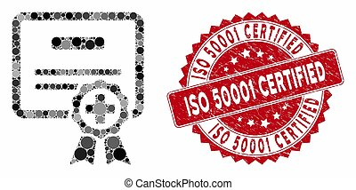 Collage Certification with Distress ISO 50001 Certified Seal